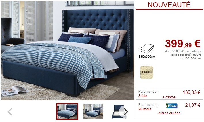 lit massimo tête de lit capitonnée tissu bleu 160x200cm - lit vente