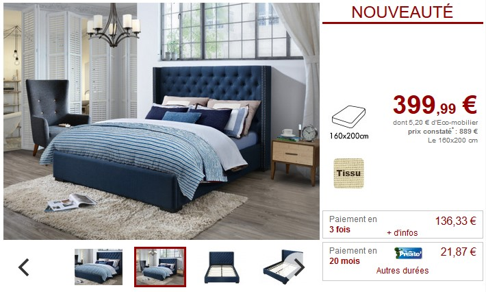 Lit MASSIMO tête de lit capitonnée Tissu bleu 160x200cm