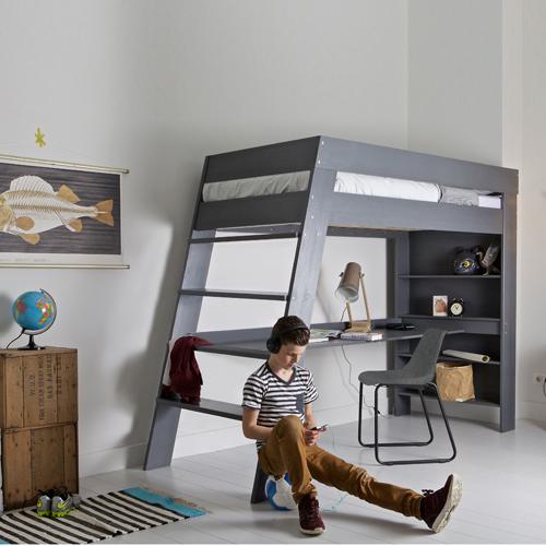 Lit mezzanine Julien avec bureau en pin massif bross Gris Lit