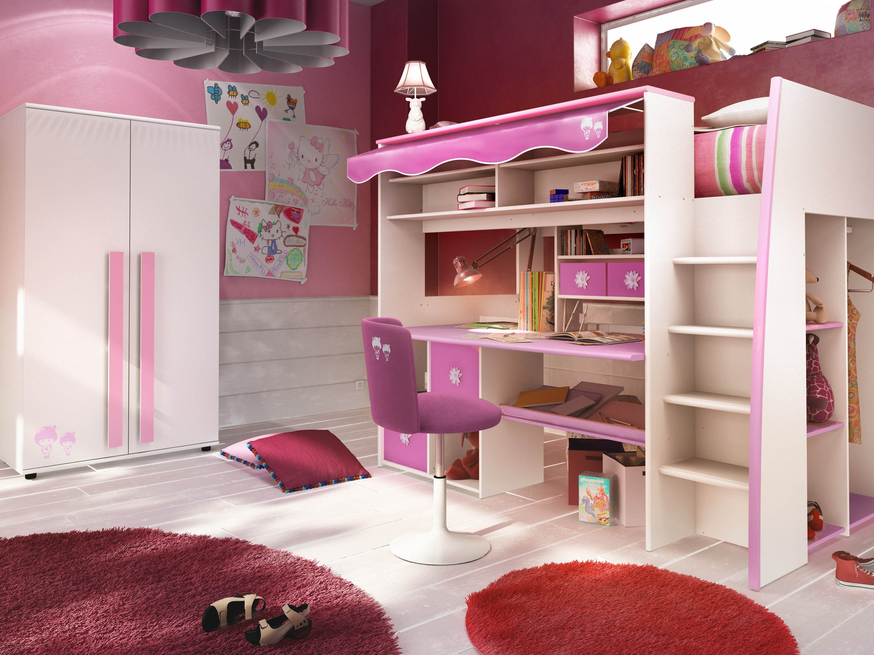 chambre enfant miliboo lit mezzanine enfant rose et blanc marchande prix 429 00 euros. Black Bedroom Furniture Sets. Home Design Ideas