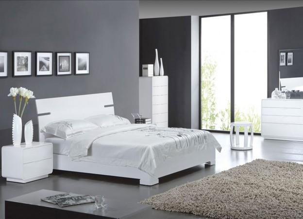 Lit Contemporain Achatdesign - Lit Blanc Laqué Serra - Iziva.Com