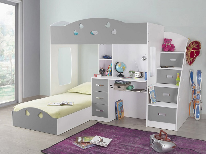 lit superpos combal avec rangements et bureau lit enfant delamaison. Black Bedroom Furniture Sets. Home Design Ideas