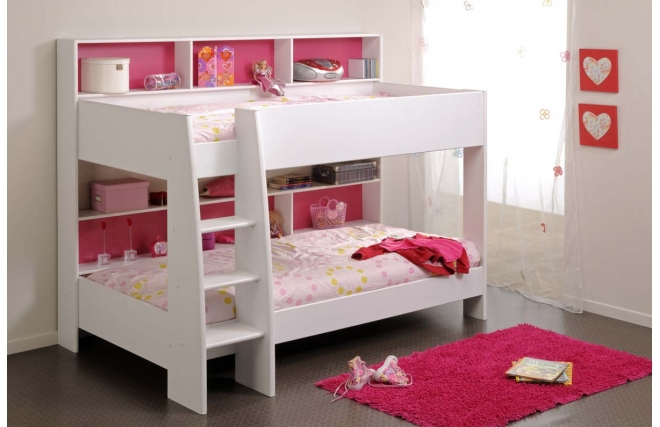 lit superpos fille blanc et rose aria lit enfant miliboo. Black Bedroom Furniture Sets. Home Design Ideas
