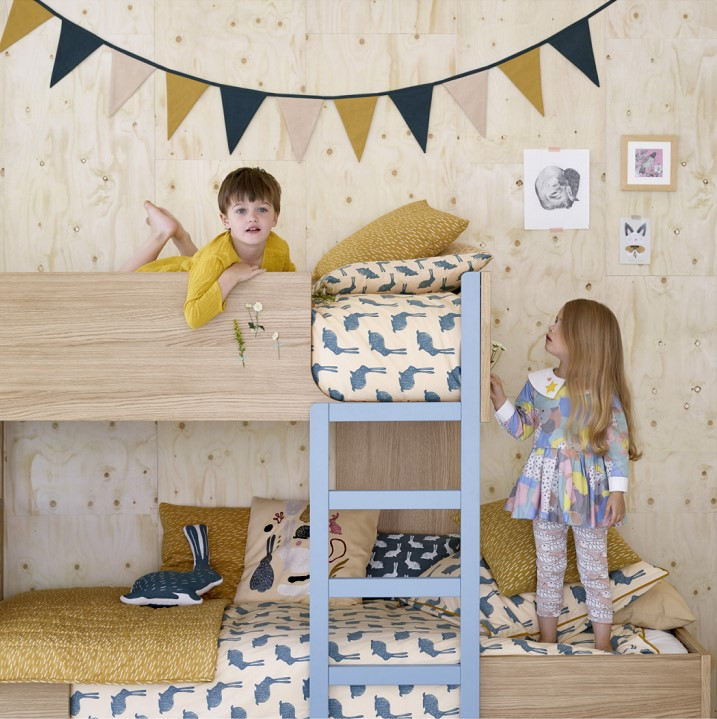 milk lits superpos s ch ne naturel et gris bleu habitat lit enfant habitat. Black Bedroom Furniture Sets. Home Design Ideas
