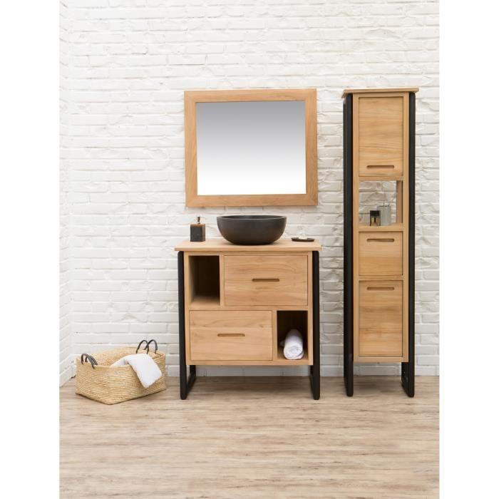 LOFT Ensemble salle de bain en bois et placage teck massif ...