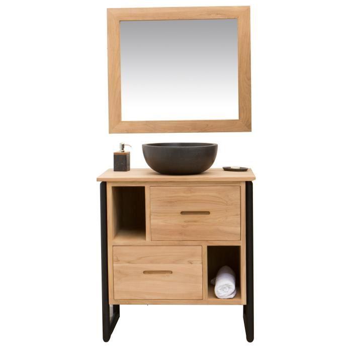 LOFT Ensemble salle de bain en bois et placage teck massif simple vasque + pieds en métal