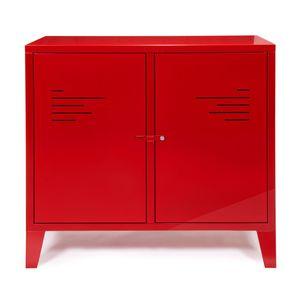 Commode 2 portes rouge en métal Lofter - Commode Alinea ...