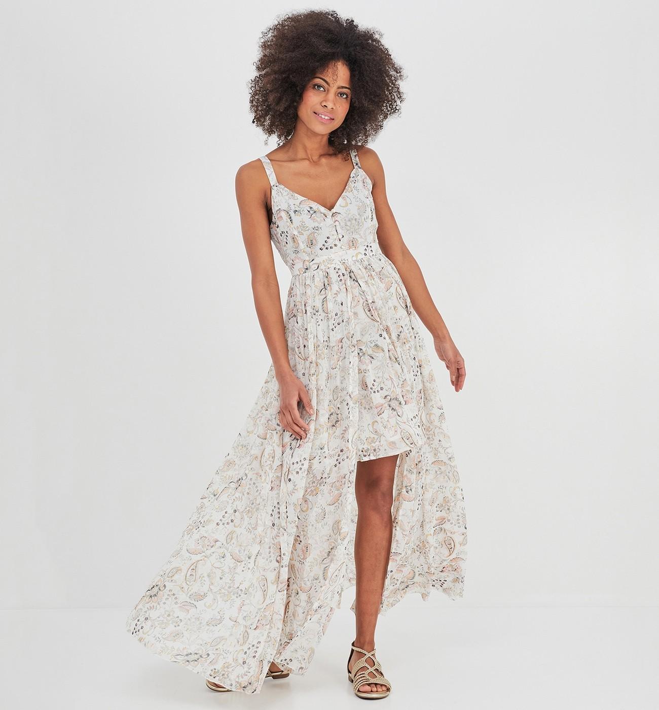 magasin en ligne f6f3b 06158 Longue robe à bretelles Imprimé écru Promod - Robe Femme ...