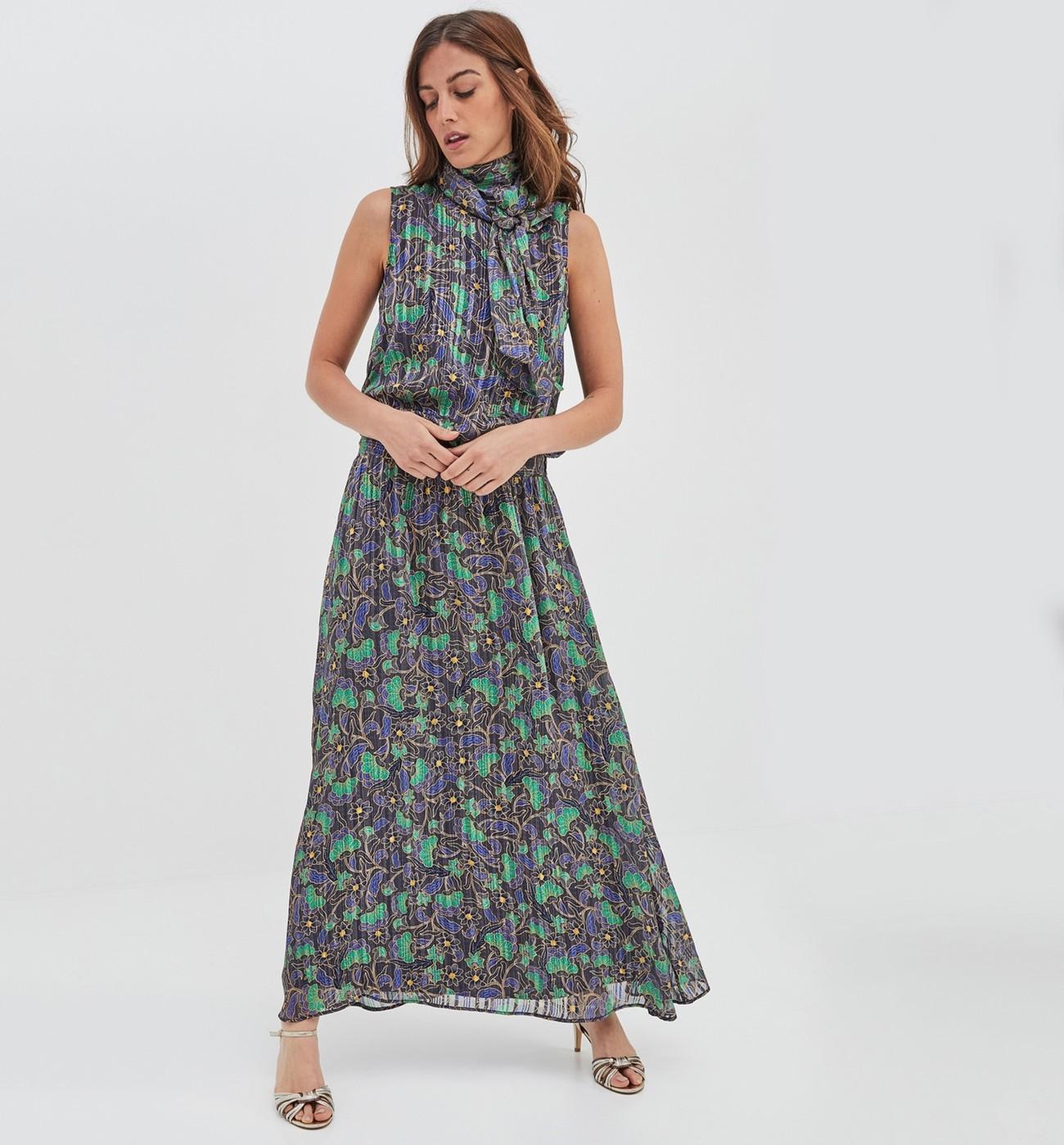 d5ff2b13daddf5 Longue robe imprimée marine Promod - Robe Femme Promod
