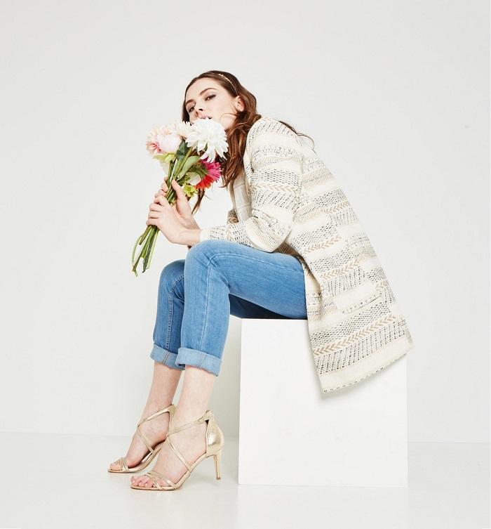 Longue veste irisée Femme Ecru Promod