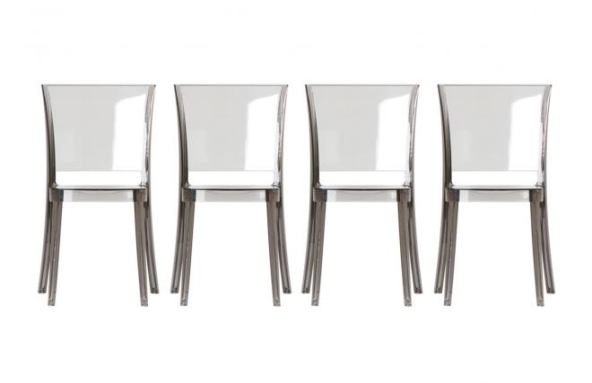 Lot De 4 Chaises En Polycarbonate Transparente Grise Fumee KHYRA