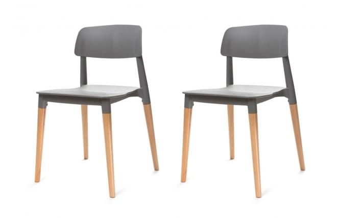 soldes chaises miliboo lot de deux chaises design scandinave grises gilda - Soldes Chaises