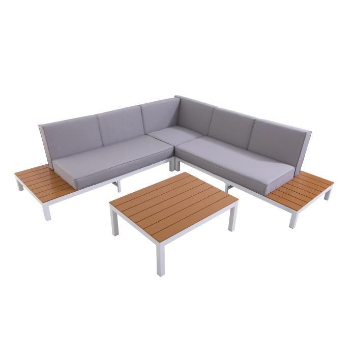 LOUNGITUDE Salon de jardin avec canapé d\'angle 5 places en aluminium