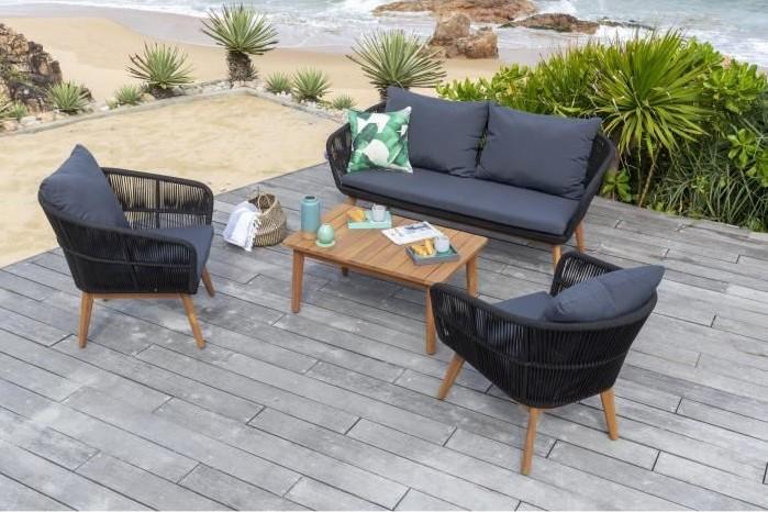 MALA Salon de jardin 4 places en bois d\'acacia pas cher - Salon de Jardin  Cdiscount