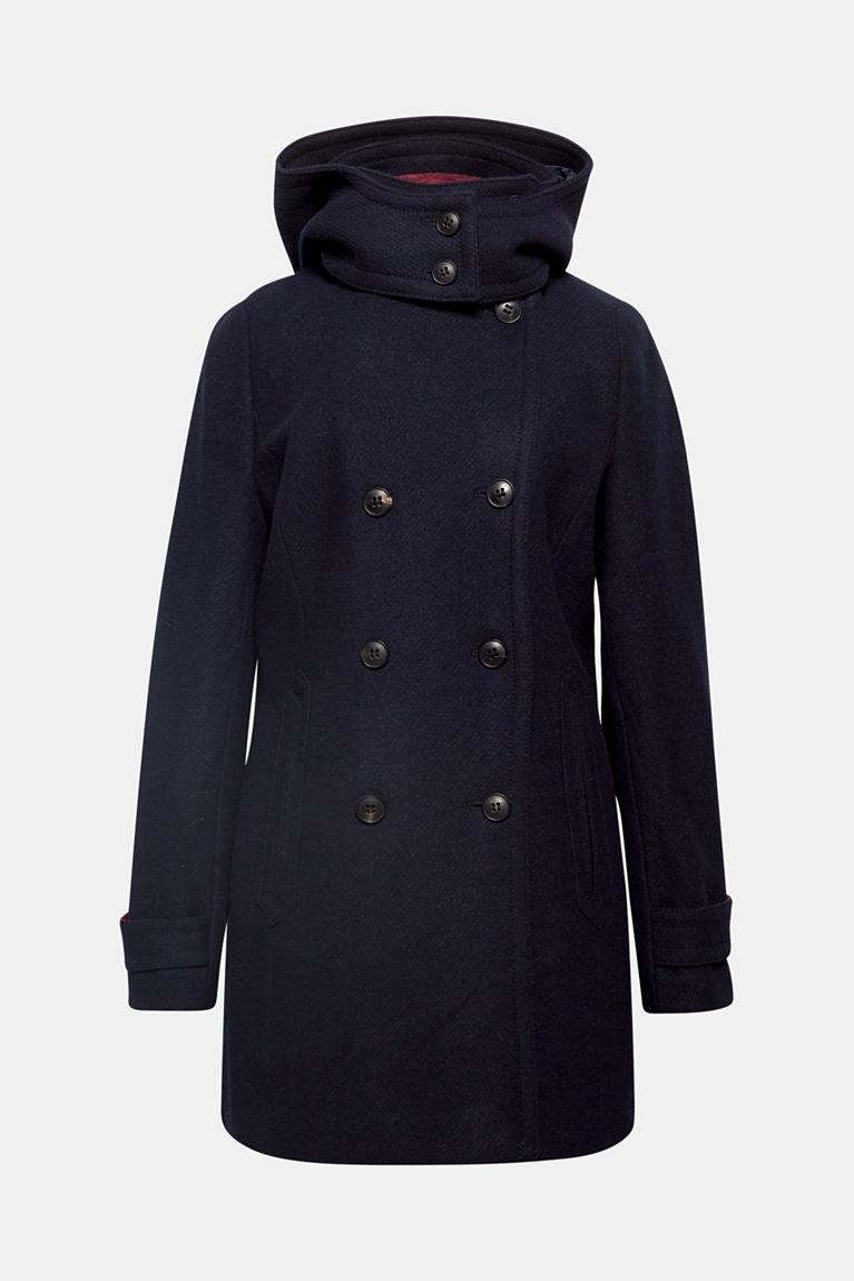 Esprit Manteau à capuche ajustable en laine mélangée