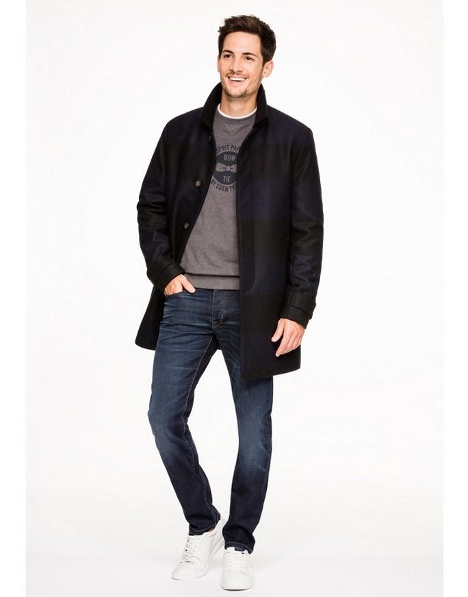 04bd0a1717 Manteau à manches longues en drap de laine à rayures Eden Park - Manteau  Homme Eden Park: (Mode): Eden Park Manteau à manches longues en drap de  laine à ...