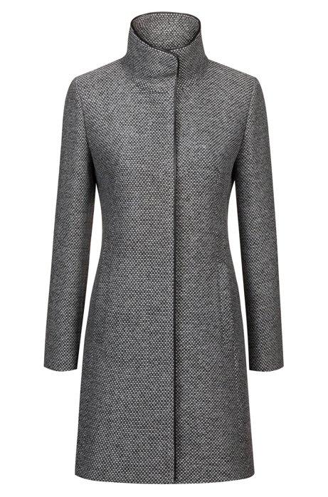 HUGO BOSS MALUBA Manteau à motif et col montant Gris sombre avec finitions en similicuir pour Femme