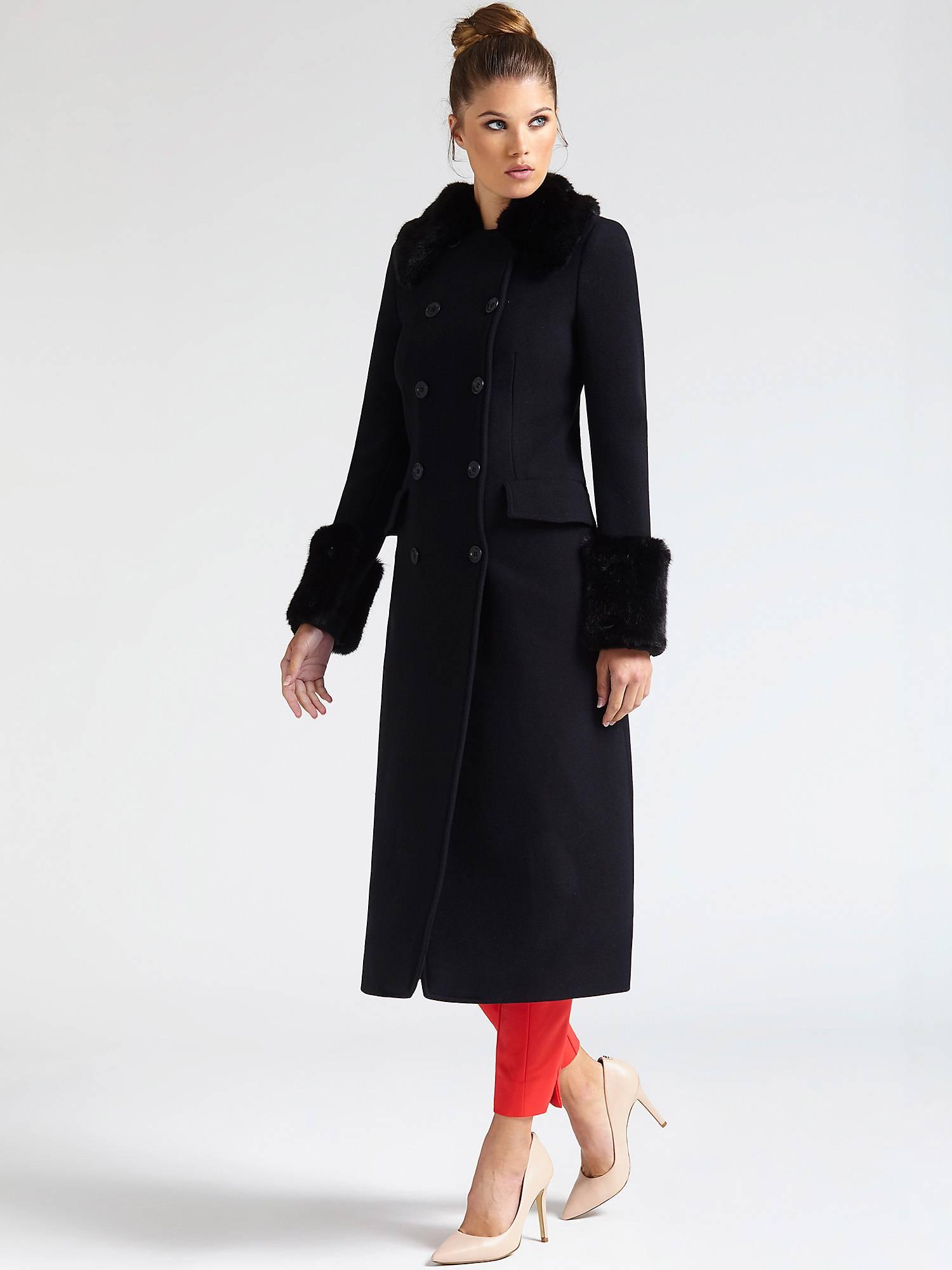 ddd25d39940 MANTEAU APPLICATIONS EN FOURRURE MARCIANO Noir Guess - Manteau Femme ...