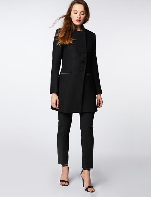 Manteau cintré col contrastant Noir Morgan