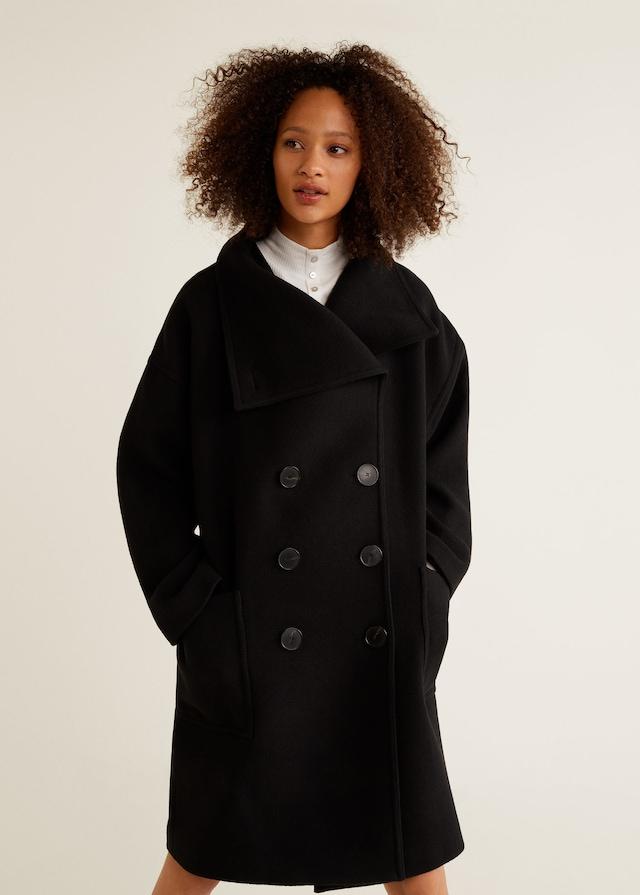 MANGO VERA-LM Manteau en laine à double boutonnage noir