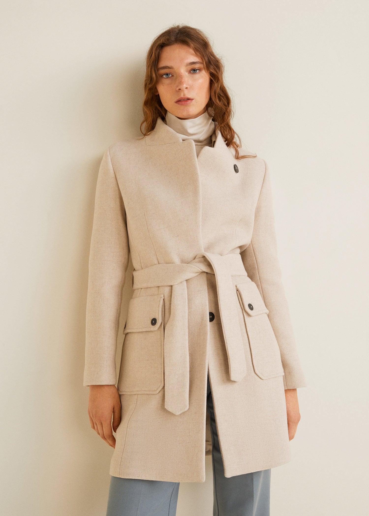 magasin d'usine ff2aa dd7f6 Mango MARTE Manteau en laine avec ceinture - Manteau Femme Mango