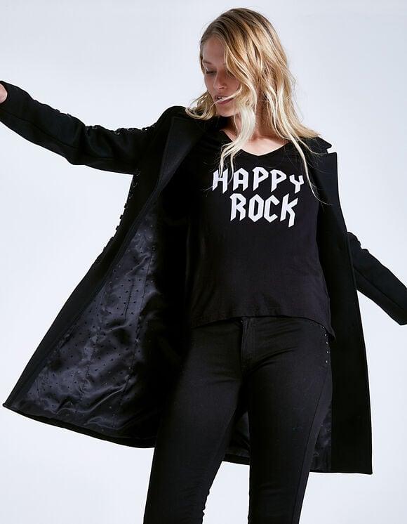 Manteau drap de laine laçage bras Noir IKKS Women
