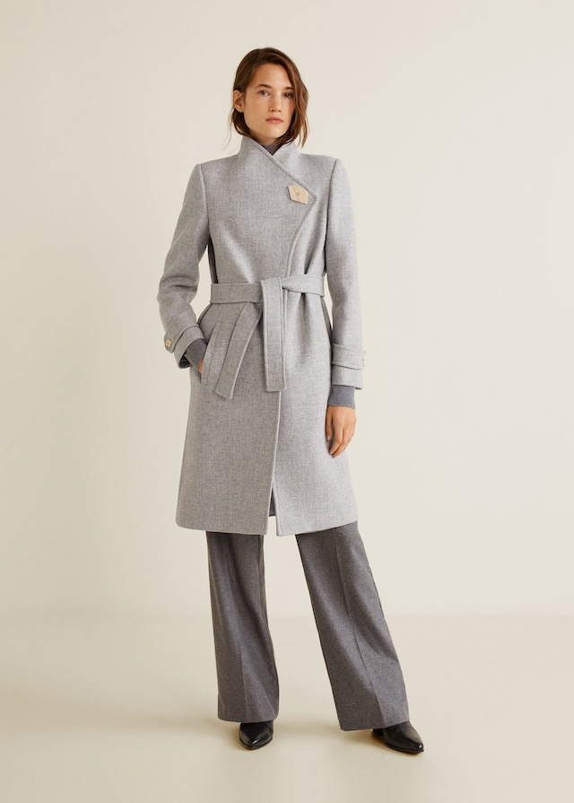 MANGO LUNA Manteau laine bouton gris