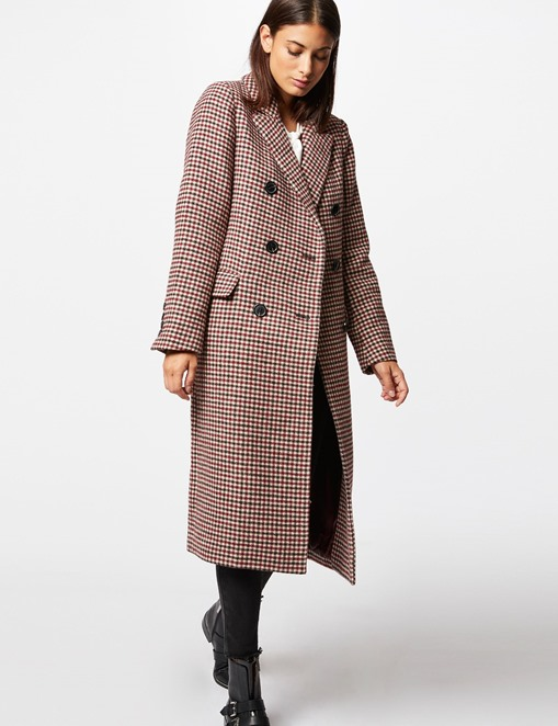 Manteau long imprimé double boutonnage Morgan Multico