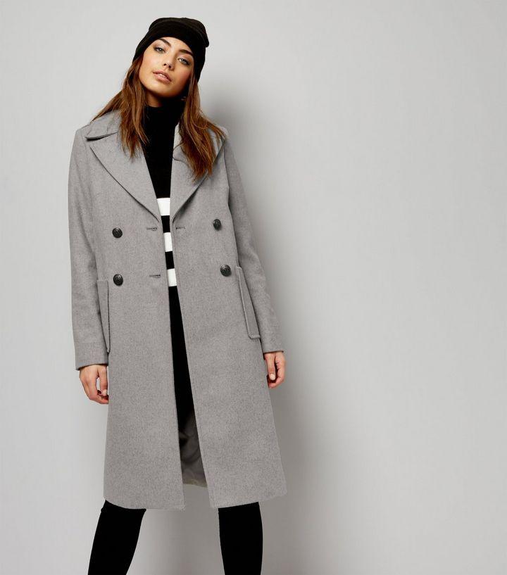 8c5ff5fa479 Manteau mi-long gris croisé New Look - Manteau Femme New Look ...