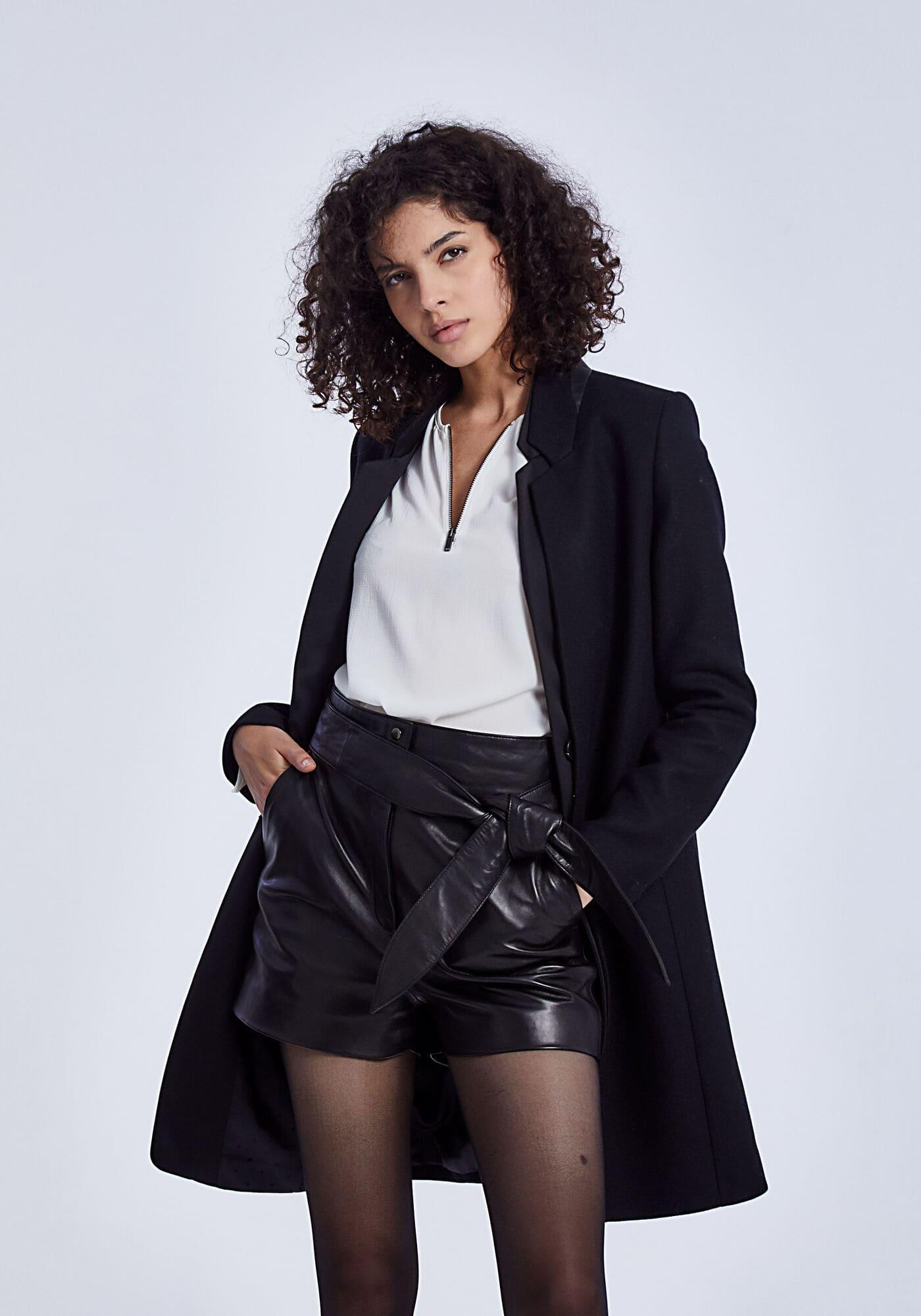 laine col IKKS noir enduit long drap mi de Manteau Women 6bfg7y