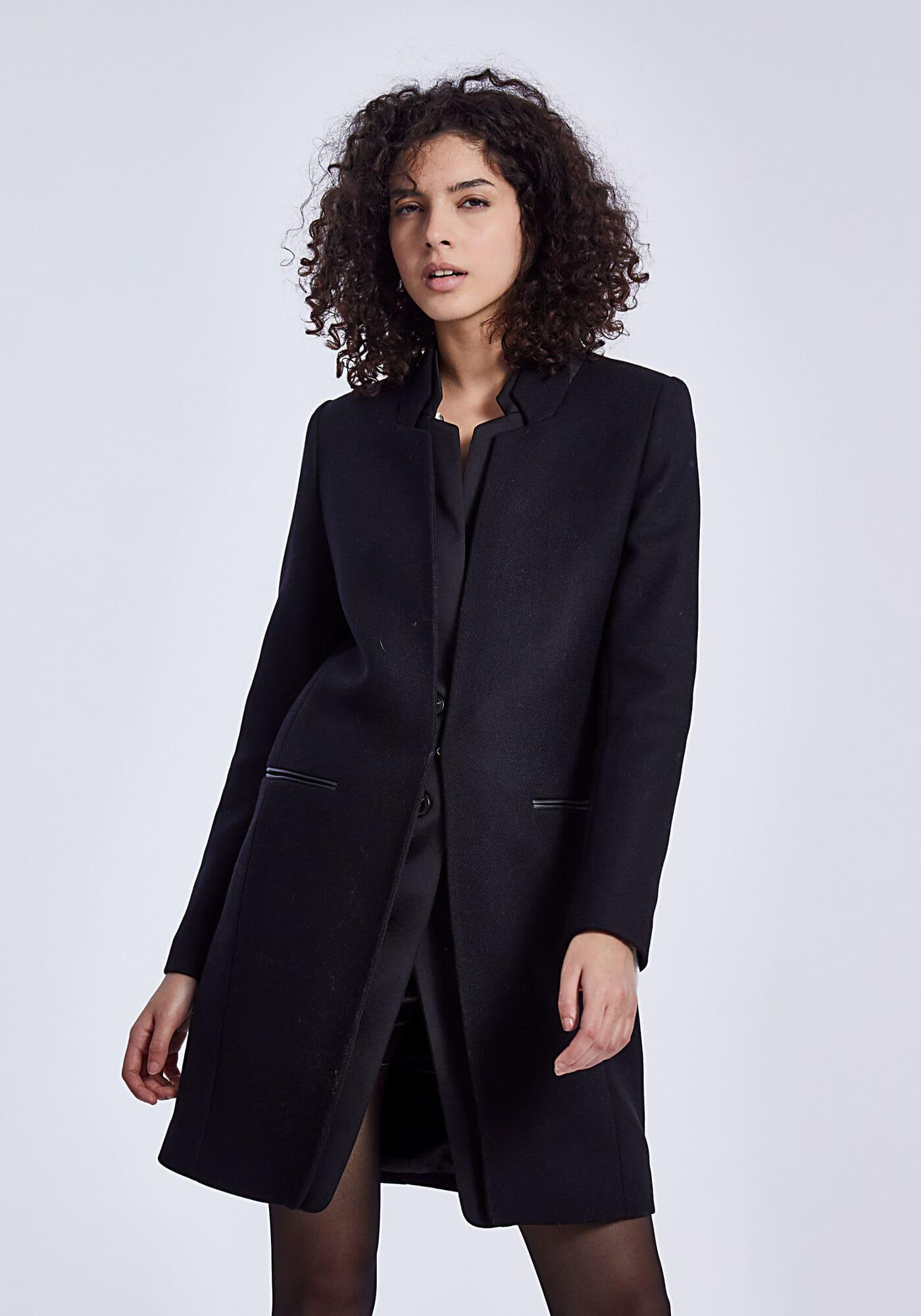Manteau mi long drap de laine col enduit noir IKKS Women