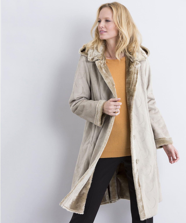 grand choix de 2019 aspect esthétique apparence élégante Manteau suédine brodée imitation peau lainée Chamois Brode Damart - Manteau  Femme Damart