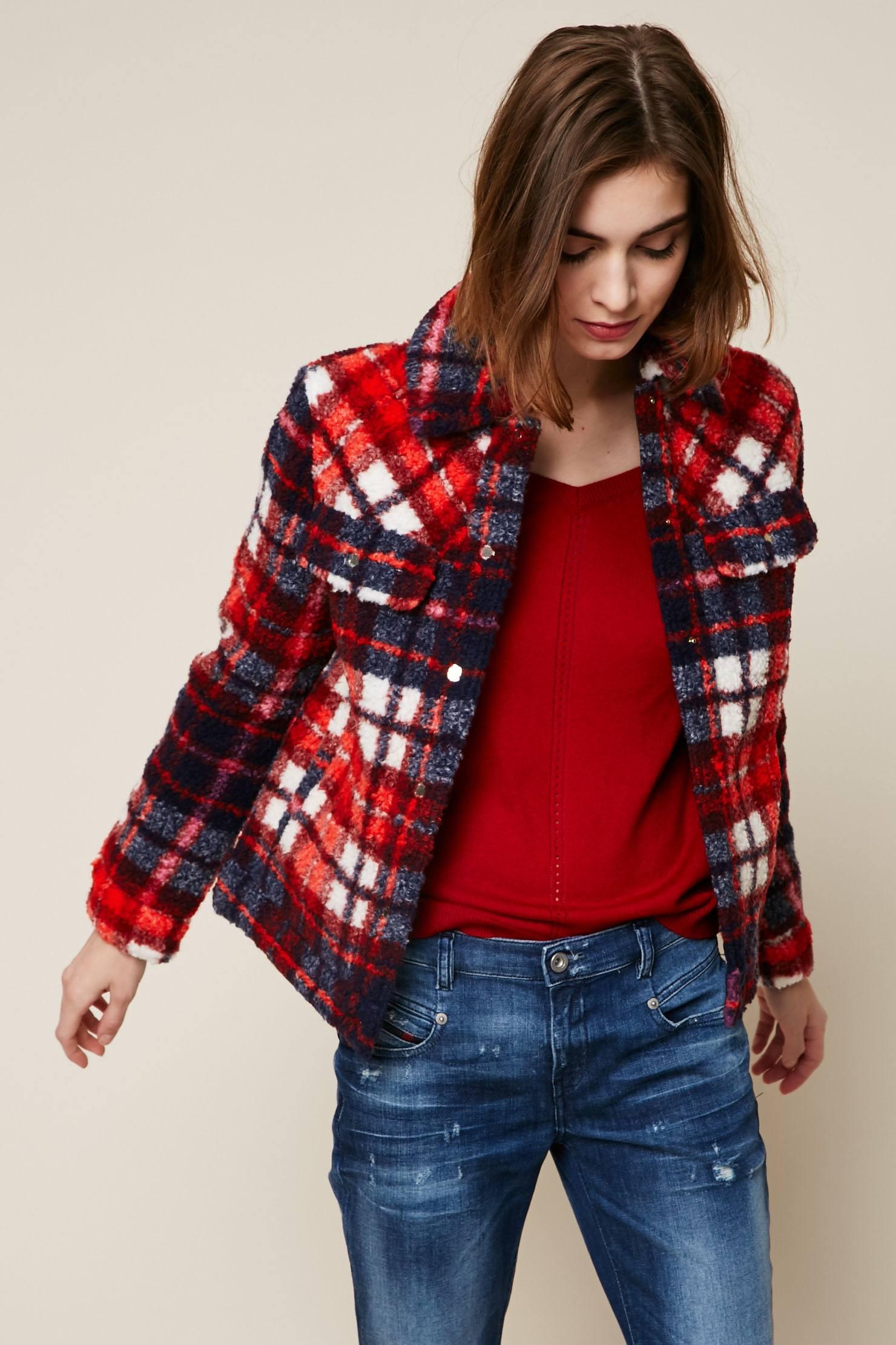 tommy hilfiger manteau tartan rouge en laine m lang e manteau femme monshowroom. Black Bedroom Furniture Sets. Home Design Ideas