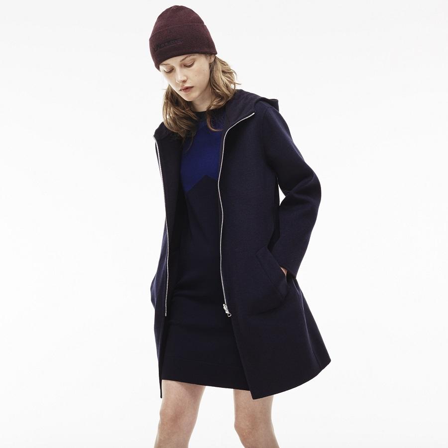 dd0612063a Manteau zippé à capuche réversible Lacoste en laine unie - Manteau ...