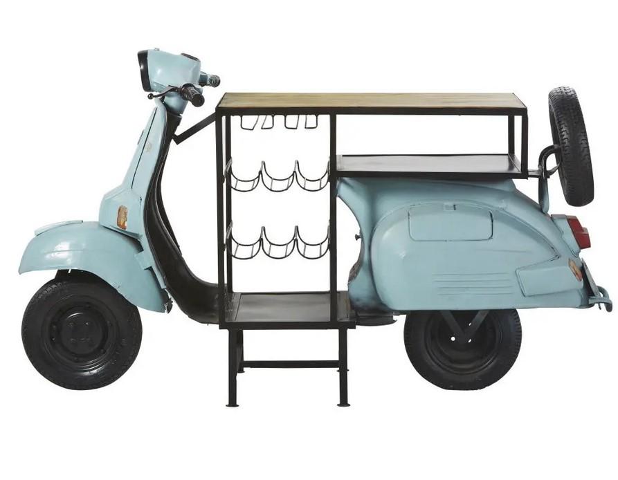 Meuble de bar Scooter bleu en métal et manguier - Maisons du Monde