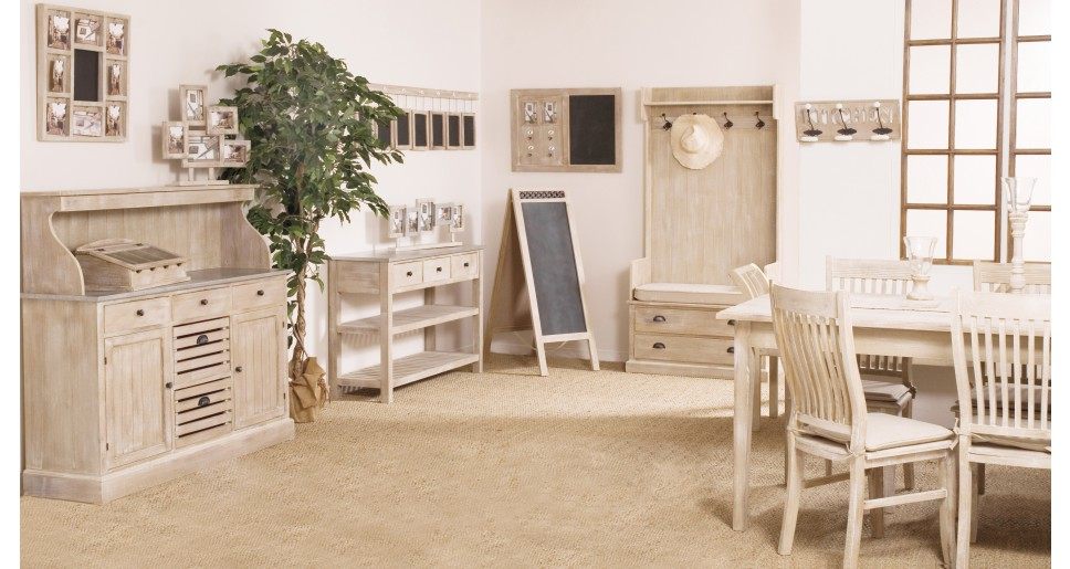 Meuble de cuisine bois exotique blanchi plateau zinc - Meubles de ...