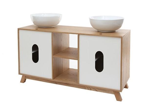 Meuble de salle de bain TOTEM : 2 vasques 2 portes chêne clair et blanc