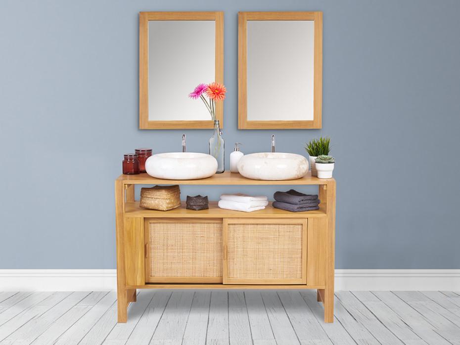 Meuble Salle De Bain Teck Malaka Option Vasque Miroir Pas