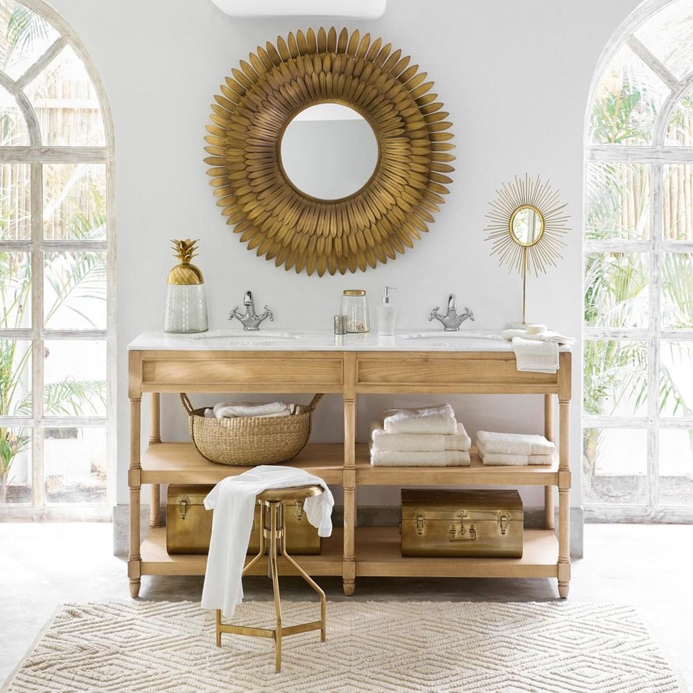 Meuble Sous Lavabo Maison Du Monde meuble double vasque charline en chêne massif et marbre