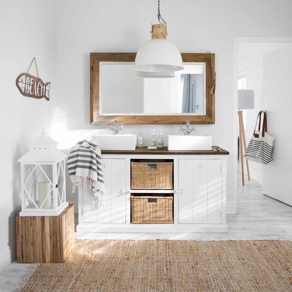 Meuble Sous Lavabo Maison Du Monde meuble double vasque figuerolles en manguier massif blanc