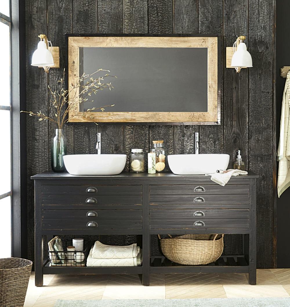 Meuble Sous Lavabo Maison Du Monde meuble double vasque shalini en pin recyclé noir - meuble de