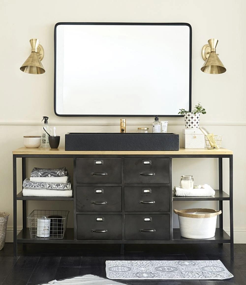 Meuble Sous Lavabo Maison Du Monde meuble double vasque indus alister en métal gris et manguier