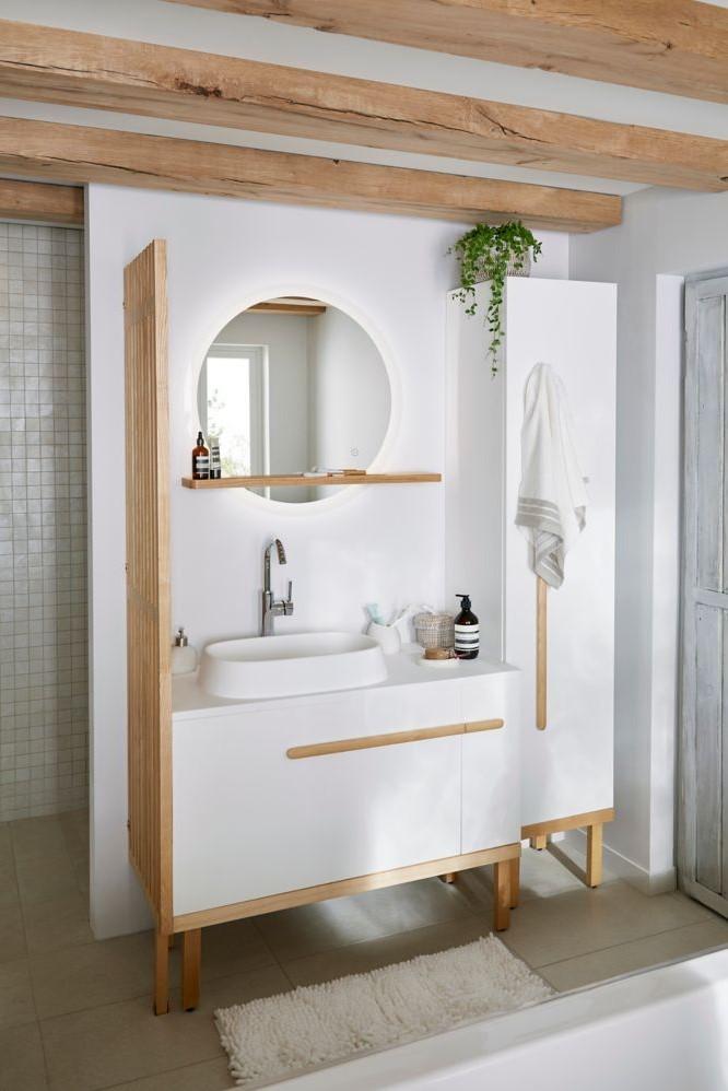 Meuble sous vasque à poser GoodHome Adriska blanc 100 cm + ...