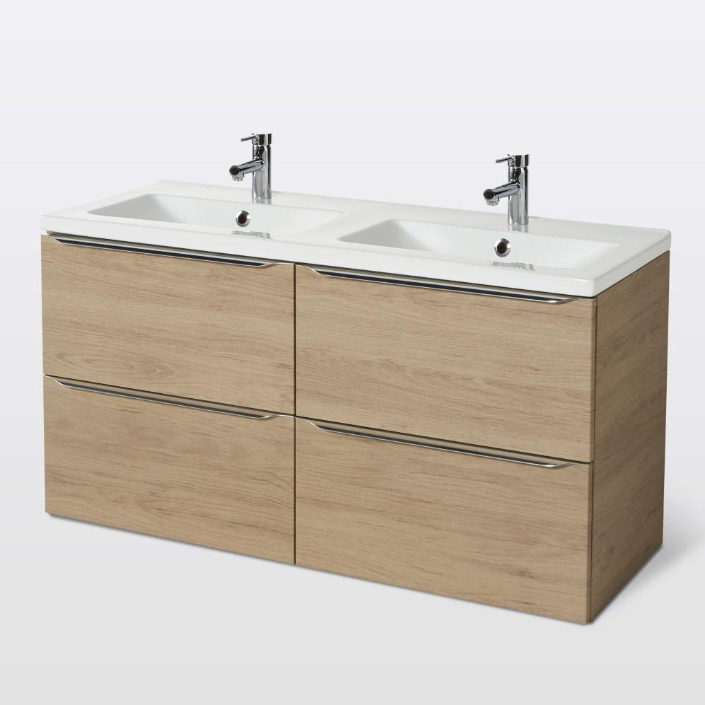 Meuble sous vasque à suspendre GoodHome Imandra bois 120 cm + plan vasque  Nira - Meuble de salle de bains Castorama