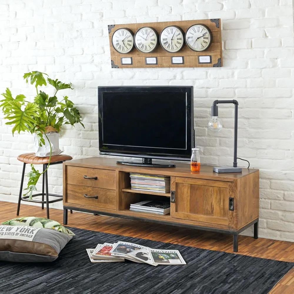Meuble Tv Hipster 1 Porte 2 Tiroirs En Manguier Massif Et Metal Noir Meuble Tv Maisons Du Monde Iziva Com