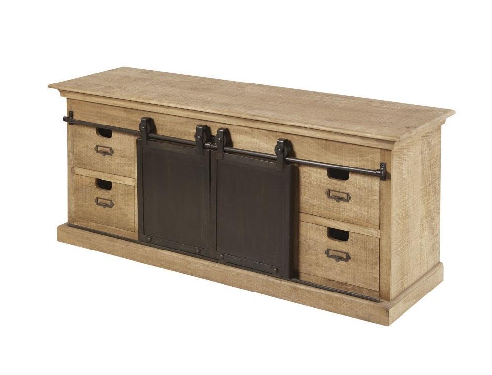 Meuble TV 2 portes 4 tiroirs Germain en manguier massif