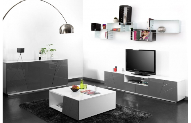 soldes meuble tv miliboo meuble tv design gris alessia. Black Bedroom Furniture Sets. Home Design Ideas