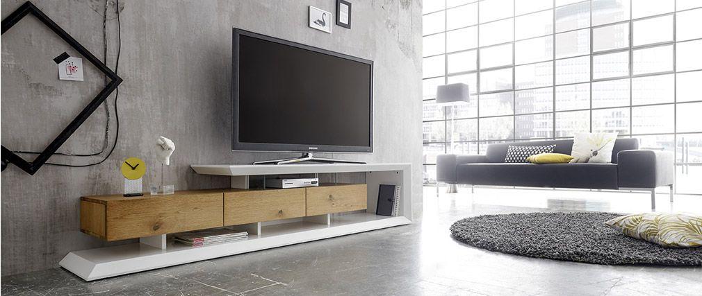 Meuble TV design RITUEL laqué blanc et bois pas cher - Meuble TV Miliboo