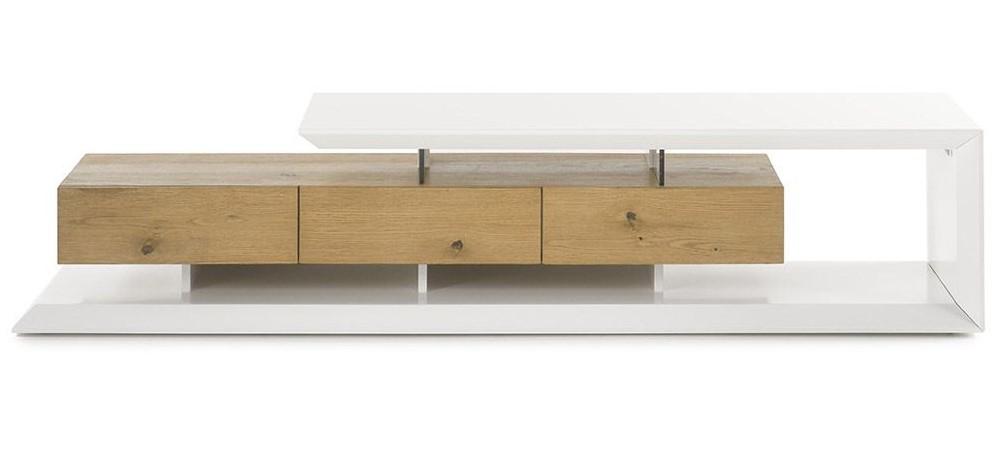 Meuble TV design RITUEL laqué blanc et bois