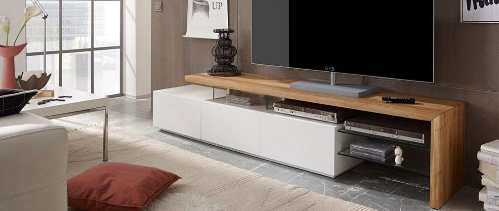 Meuble Tv Design Laque Blanc Media Plateau Chene Pas Cher Meuble Tv Miliboo